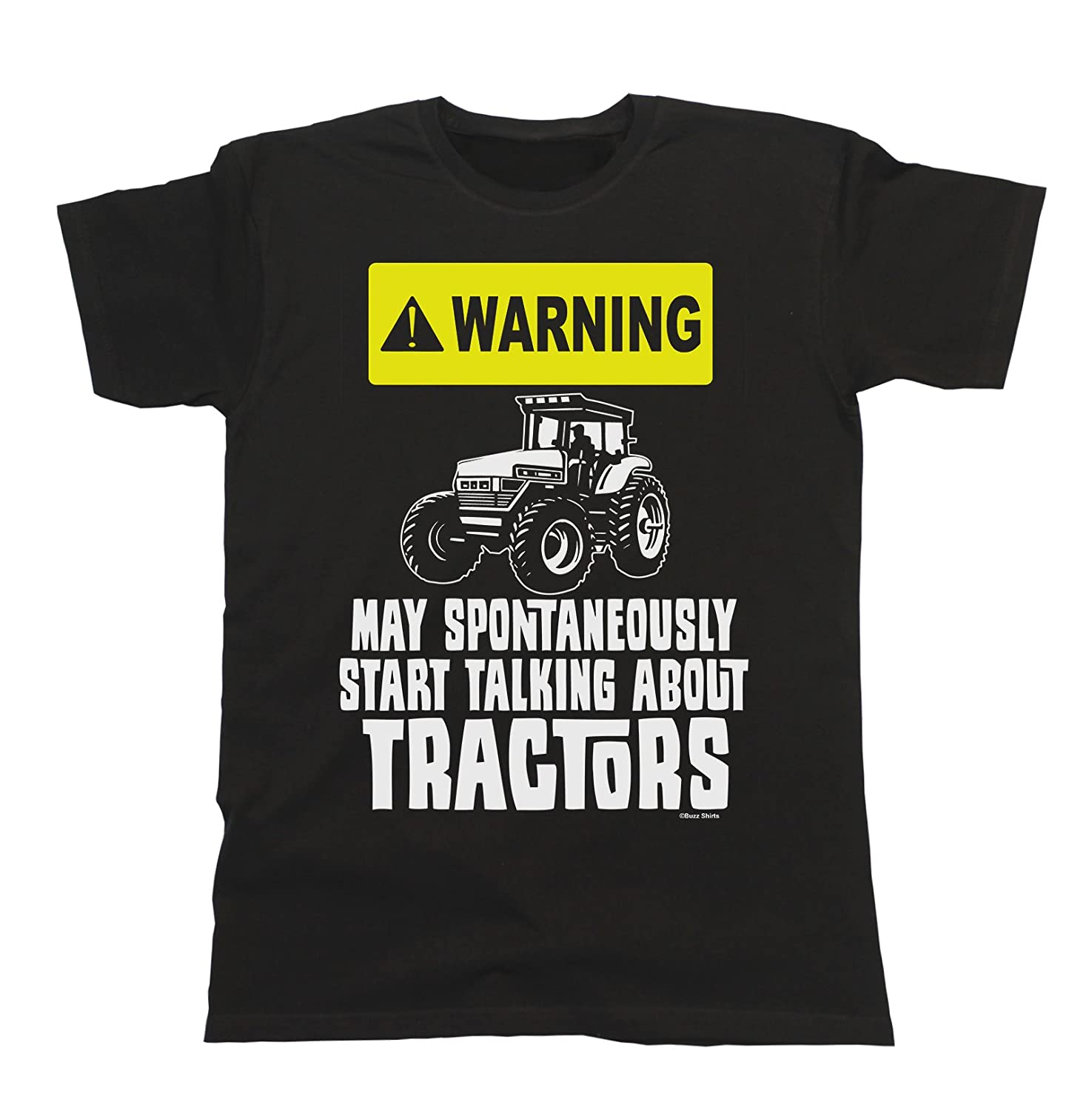 Warning May Spontaneously Start Talking About Tractors Mens Funny Farmer T-Shirt