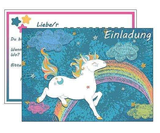 Set: 15 Einladungskarten Kindergeburtstag: Einhorn / Unicorn  Geburtstagseinladungen Einladungen Geburtstag Kinder Mädchen (15 Karten Mit  15 ...