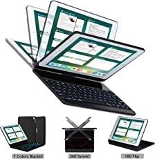 2017 iPad Pro 10.5 case Keyboard cover with pencil holder, Lenrich 7 colors backlit 360 rotatable Apple iPad Pro 10.5 Bluetooth Wireless Keyboard folio swivel stand Auto Sleep/Wake up (Black)