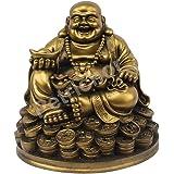 Petrichor Fengshui يضحك بوذا يجلس على عملات نقود محظوظة تحمل دخان ذهبيا لحظ وسعادة جيدة (5 بوصة)