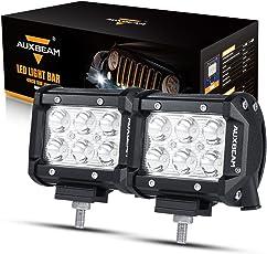 "Auxbeam 4"" 18W CREE LED Work Light Bar Spot Beam 30 Degree Waterproof (77718854)-Set of 2pcs"