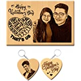 GFTBX Vday Combo Valentines Day Gift for Husband or Wife - Wooden Personalized Engraved Plaque and Keychain | Valentine Gift