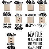 9pcs Pegatinas Pared para Interruptor de Luz Enchufes + 1pcs Pegatinas Vinilos Frases para Indoro Lavabo Baño Stickers Pegati