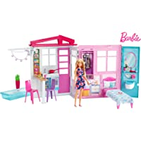 Barbie Doll & Doll house, Portable 1-Story Playset with Pool & Accessories​
