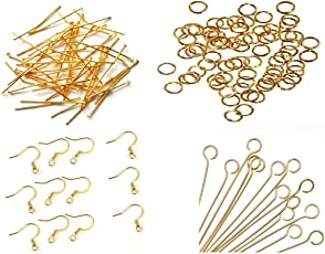 Am Jewelry Making Gold Pack Of Headpins , Eyepins , Jump Rings , Ear Hook Clasps