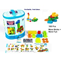 AdiChai 100 Pcs Blocks Toys Building and Construction Block Set More Bricks & Shapes, Interlockig Connection Educational Toy for Kids (Multicolor)