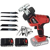 Scie alternative sans fil rechargeable avec 2 piles Kit compact portable 21 volts max 1,5 Ah avec étui à outils pour…