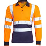 shelikes Mens Hi Vis Viz Polo Contrast Long Sleeve Workwear Visibility Tee Tshirt Top