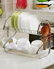 GTC 2 Tier Kitchen Dish Rack Crockery Cutlery Plates Holder Glass Organizer Stand Utensils Modern Storage Chrome Finish Shelves 42CM-S