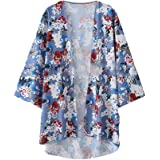 Aooword Womens Cardigan Kimono Floral Print Casual Open Front Jacket Coat