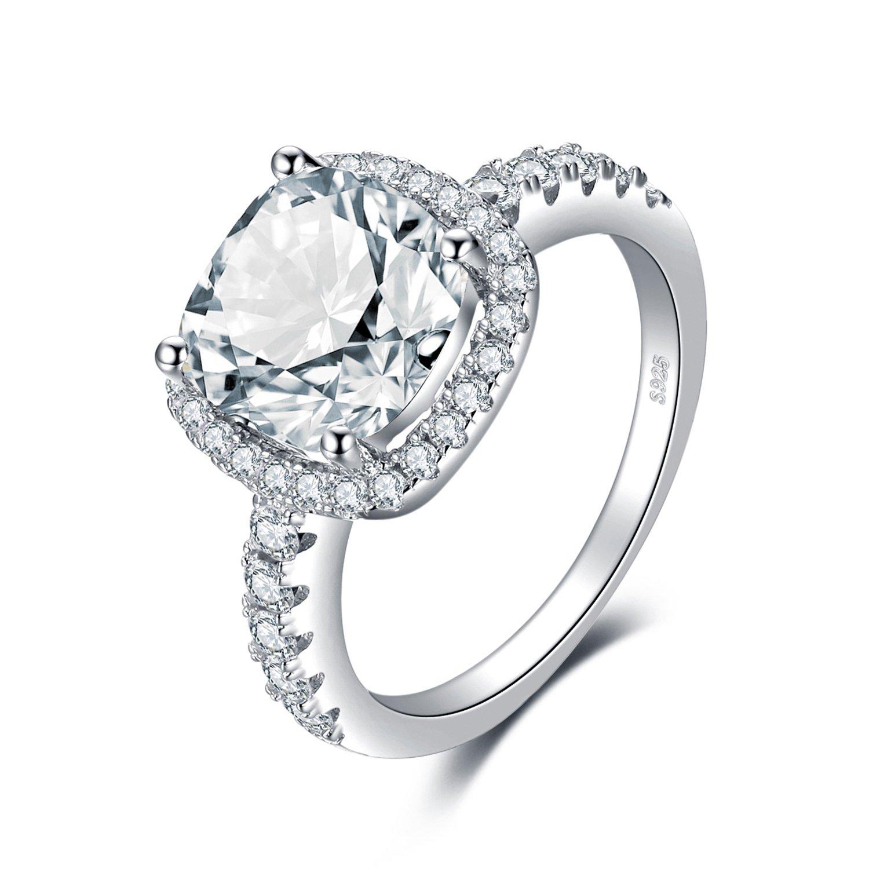 Jewelrypalace En Forme De Coussin 3ct Zircone Cubique Mariage Anniversaire Halo Solitaire Fiancailles Bague De Femme En Argent 925 Bibi Beaute Com