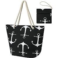flintronic Große Strandtasche mit Reißverschluss und Innentasche Wasserdicht Strandtasche, Einkaufstasche Shopper für…