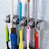 EAYIRA Wall Mounted Storage 4 Slot Position Mop Holder and Broom with 5 Hooks Garage (Multicolour, LxBxH-40.7 x 8.3 x 6.3 cm)
