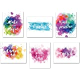 Inspirational Poster Motivational Wall Art - Creative Quotes for Home Office Watercolor Canvas Print Artwork Bedroom Decor 8x