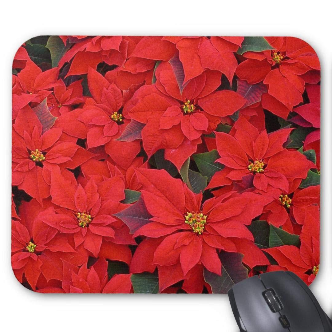 Almohadillas de Goma Antideslizantes rectangulares para ratón, diseño de Flores románticas, Poinsettias Rojas
