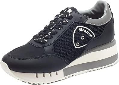 Blauer USA Charlotte 05 Black Sneakers Donna in Pelle e Tessuto Zeppa Alta