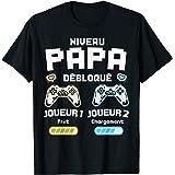 Homme Niveau Papa Débloqué Futur Père Fils Annonce Grossesse Gamer T-Shirt
