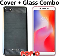 Xiaomi Redmi 6A Back Cover Case & Tempered Glass Combo by Popio®