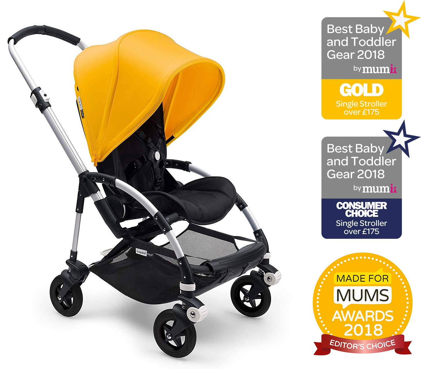 Bugaboo Bee 5, Foldable and Lightweight Pushchair, Converts Into Pram, Black/Sunrise Yellow Bugaboo The perfect choice for travel and city living Use a cocoon or carrycot to convert into a pram for newborns (both sold separately) Compatible with a wide range of car seats (please see list below) 2