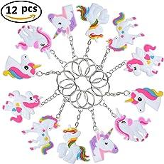 FiYenn 12x Stück Einhorn Schlüsselanhänger Gastgeschenke Kindergeburtstag Einhorn/Unicorn Mitgebsel Anhänger für Tasche und Schlüssel, Geschenkidee