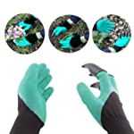 Skyfish Gardening Gloves with Right Hand Fingertips with 4 ABS Plastic Claws for Digging & Planting- 1 Pair Glove