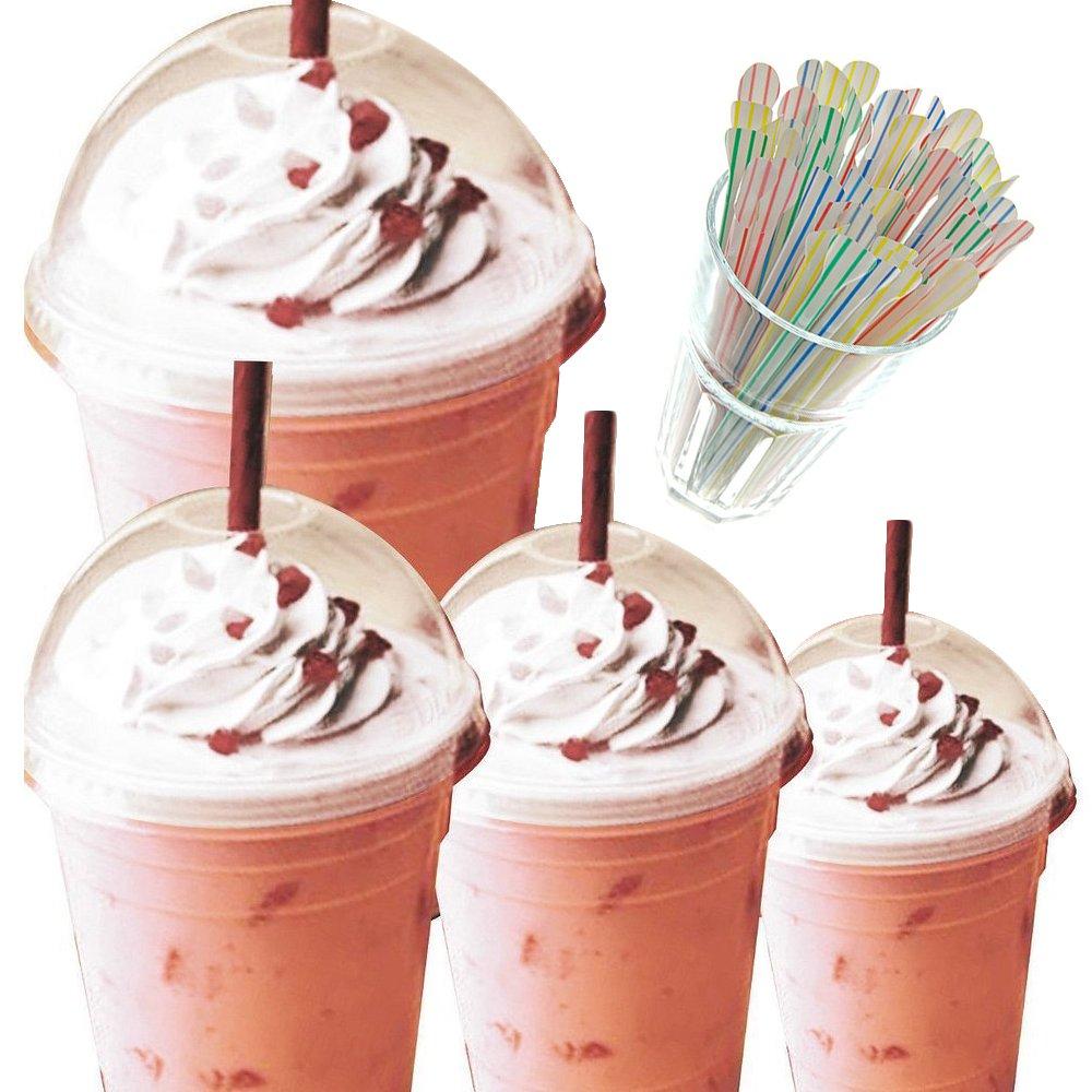 453,6gram smoothie/milkshake tazze con cupola coperchi & cannucce Striped Spoon Straw