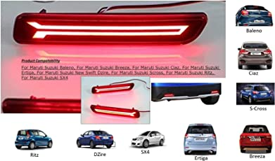 PR Car Reflector Led Brake Light for Bumper Drl with Wiring for Maruti Suzuki Scross (Red) - Set of 2