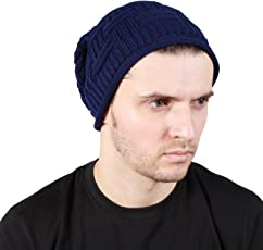 Noise Blue Cross Knitted Slouchy Beanie Cap