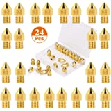 Electomania 24pcs Extruder Nozzles 3D Printer Nozzles for MK8 0.1mm, 0.2mm, 0.3mm, 0.4mm, 0.5mm, 0.6mm, 0.8mm, 1.0mm with Sto