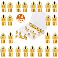 Electomania 24pcs Extruder Nozzles 3D Printer Nozzles for MK8 0.1mm, 0.2mm, 0.3mm, 0.4mm, 0.5mm, 0.6mm, 0.8mm, 1.0mm…