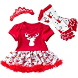 Freebily Conjunto de Navidad para Bebé Niña Recién Nacido Vestido de Princesa Infantil Estilo de Pelele Fiesta Invierno Otoño
