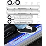 Fabtec Car Door Foot Step Led Sill Plate Compatible for Maruti Swift (Set of 4PCS, Blue)