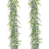 YQing 2 Pièces Artificielle Eucalyptus Guirlande Feuilles d'eucalyptus vignes Faite à la Main Guirlande Mariage Verdure Fond