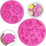 FineGood Lot de 2 moules décoratifs en silicone en forme de fleur de chrysanthème et nœud papillon, pour chocolat, fondant, a