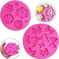 FineGood Lot de 2 moules décoratifs en silicone en forme de chrysanthème, fleur et nœud papillon, chocolat, fondant…