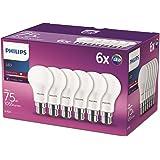 Philips ampoule LED Standard B22 75W Blanc Chaud Dépolie, Lot de 6