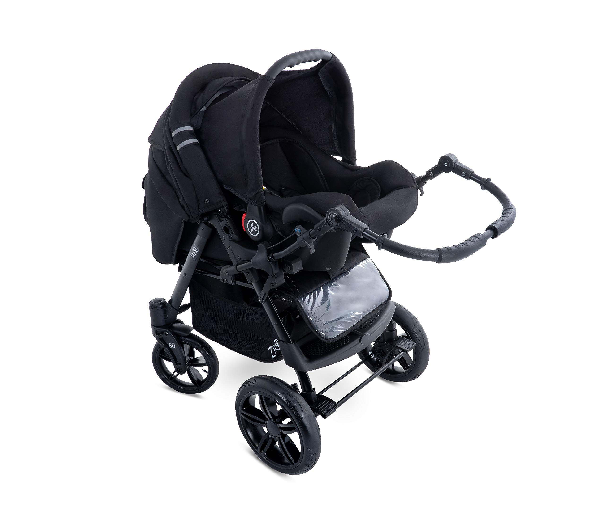 Baby Pram Zeo Mio 3in1 Set - All You Need! carrycot Gondola Buggy Sport Part Pushchair car seat (M1)  3 in 1 combination stroller complete set, with reversible handle to the buggy, child car seat or baby carriage Has 360 ° swiveling wheels, two-fold suspension, four-stage backrest, five-position adjustable footrest and a five-point safety belt The stroller can be easily converted into other functions and easy to transport 6