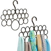 mDesign porte-foulard – rangement foulard pour écharpes et foulards – pack de 2 – cintre foulard avec 18 anneaux…