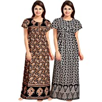 Trendy Fab Women Full Length Cotton Nighty (Multicolour Free Size) -Combo Pack of 2 Pieces