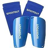 Sportout - Espinilleras de fútbol para niños y jóvenes con Mangas elásticas, Ofrece una protección Integral para Sus piernas