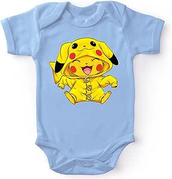 Okiwoki Body bébé Manches Courtes Garçon Bleu Parodie Pokémon - Pikachu Cosplayé en. Pikachu ! - Imbattable dans Les Concours de Cosplay. :(Body bébé de qualité supérieure - imprimé en France)