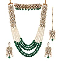 Zeneme Jewellery Sets for Women Gold Plated Bridal Long Necklace Set Neck Choker with Earrings and Maang Tikka for Women…