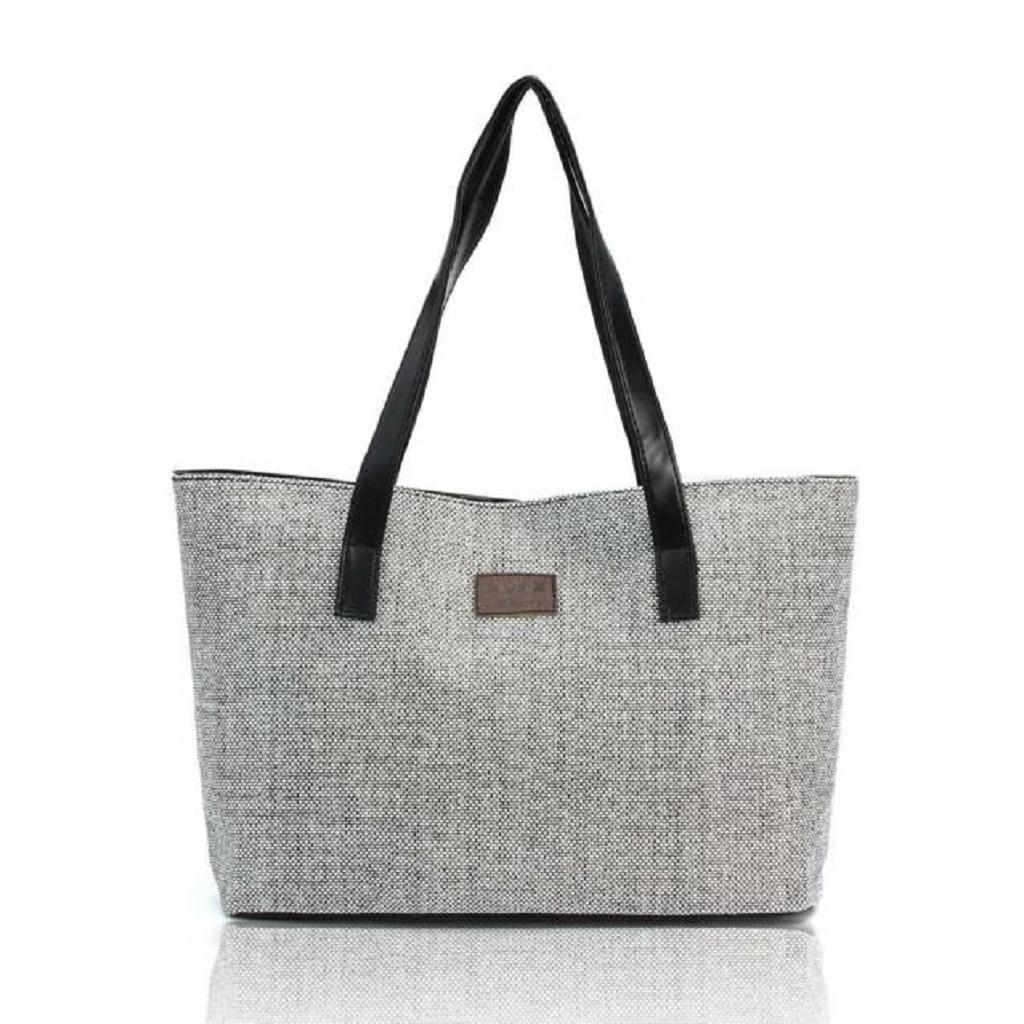 Kangrunmy Delle donne sacchetti di spalla della borsa di tela di lino Fashion shopping borse casuali