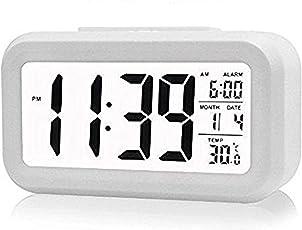 Filowa Smart Digital Alarm Clock with Automatic Sensor Backlight,Date & Temperature (Black Or White)