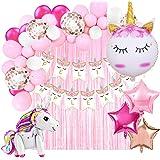 Decoración Cumpleaños de Unicornio para Fiesta de Niña-Guirnalda de Globos, Pancarta Feliz Cumpleaños, Cortina de Flecos, Glo