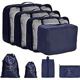 DoGeek Packing Cubes Koffer Organizer Kleidertaschen 8-teilig Packwürfel Verpackungswürfel Gepäck Aufbewahrung Taschen Ideal für Seesäcke, Handgepäck und Rucksäcke, Navy blau