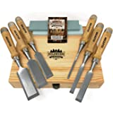 HOLZWURM Jeu de ciseaux a bois professionnels, jeu de 6 Ciseau à bois avec pierre à aiguiser, instructions (EN) d'affûtage et
