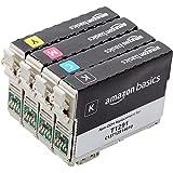 Amazon Basics Lot de 4 cartouche à jet d'encre capacité standard reconditionnée de rechange pour Epson T1295, Noir, cyan, mag