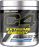 C4 Extreme Energy Pre Workout Powder ICY Blue Raspberry | Preworkout Energy Drink Supplement | 300mg Caffeine + Beta…
