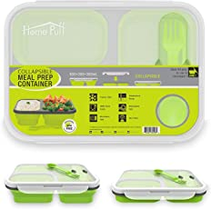 Home Puff Collapsible Dry Snacks Container, 3 Compartment, Bento BPA Free-Silicon, Microwave/ Dishwasher Safe (1200 ml)